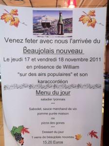 """Affiche Beaujolais Nouveau avec """"Sur Des Airs Populaires"""""""